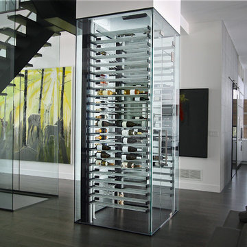 Glass wine cellar in the living room -9-