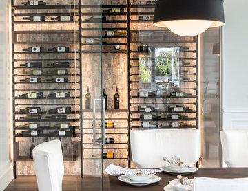 Glass Wine Cellar off Dining Room