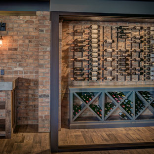 Design ideas for a rural wine cellar in Cleveland with vinyl flooring and cube storage.
