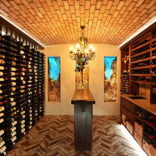 Design ideas for a medium sized modern wine cellar in Gold Coast - Tweed with display racks.