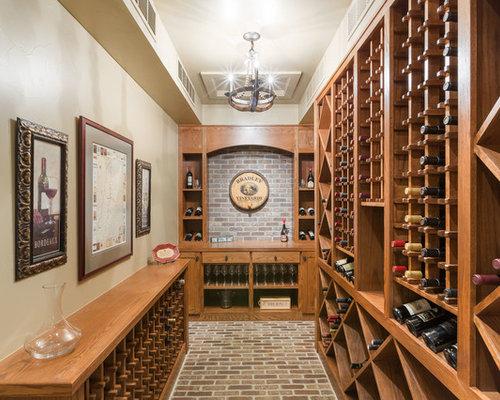 wine cellar large traditional brick floor wine cellar idea in denver with diamond bins - Wine Cellar Design Ideas