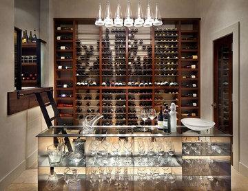 Gourmet Kitchens: wine cellar facing the Kitchen
