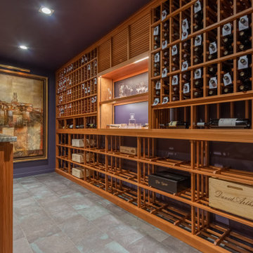 Guilford Connecticut Custom Wine Cellar Redwood Traditional Glass Wine Room