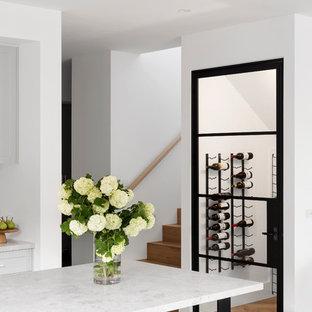 Foto di una cantina design di medie dimensioni con parquet chiaro e pavimento marrone