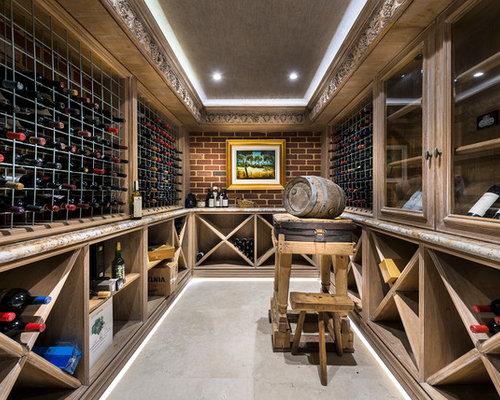 Photos et id es d co de caves vin avec un sol en for Cuisine avec cave a vin