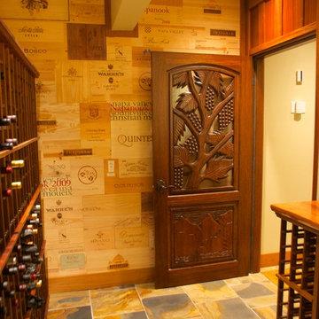 Hand Carved Solid Mahogany Wood Wine Cellar Doors by ETO Doors