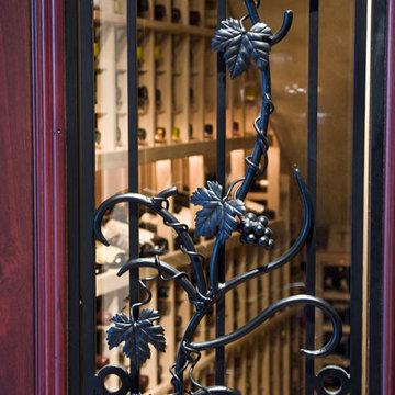 Hand-Wrought Iron Grapevine Wine Cellar Door Design Chicago