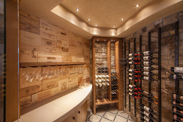 Rustic Wine Cellar by Kelly & Stone Architects