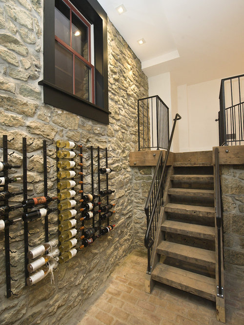 inspiration for a timeless brick floor wine cellar remodel in