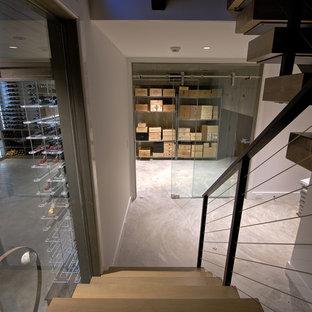 Foto de bodega moderna, grande, con suelo de cemento y vitrinas expositoras