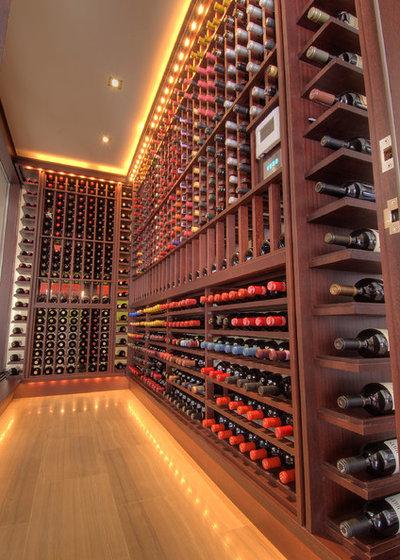 Contemporary Wine Cellar by London Audio Ltd