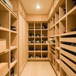 Imagen de bodega contemporánea, pequeña, con suelo de madera clara y botelleros