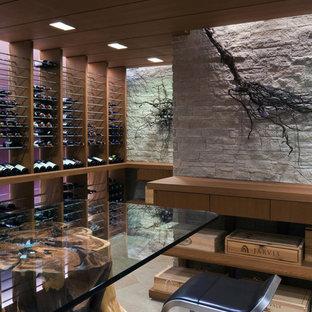 Exemple d'une grand cave à vin tendance avec des casiers.