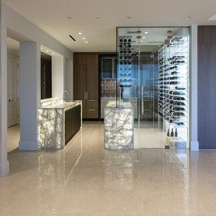 Ejemplo de bodega moderna, extra grande, con suelo de baldosas de cerámica, botelleros y suelo blanco