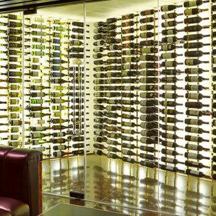 Idéer för en mycket stor modern vinkällare, med vindisplay och flerfärgat golv