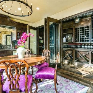 Inspiration For A Timeless Dark Wood Floor Wine Cellar Remodel In Los Angeles With Diamond Bins
