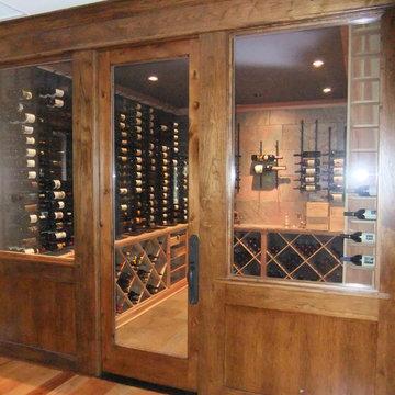 Knotty Alder Barolo Glass Custom Wine Cellar Door Memphis TN