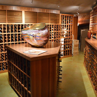 La Jolla / Del Mar Large Custom Wine Cellar Walk In with Tasting Table and Glass