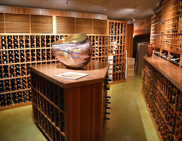 La Jolla / Del Mar Large Custom Wine Cellar Walk In with Tasting Table and Glass
