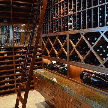 La Jolla, San Diego California Custom Wine Cellar Design Contemporary Mahogany
