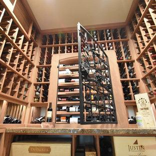 Laguna Hills Orange Small County Custom Wine Cellar with Wrought Iron Door