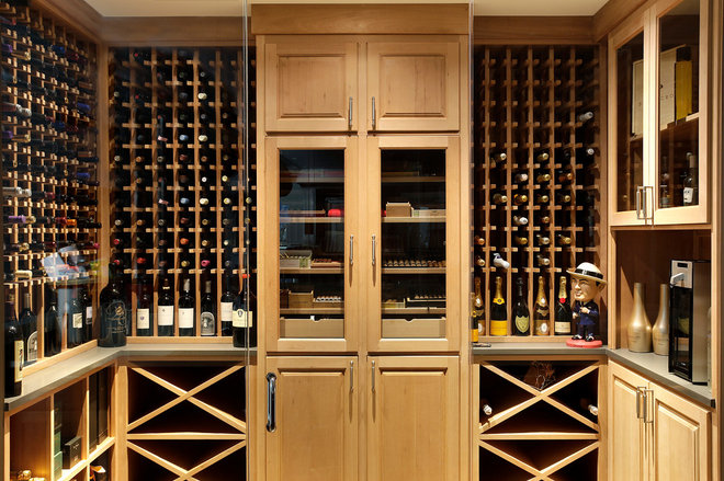Transitional Wine Cellar by Highgate Builders