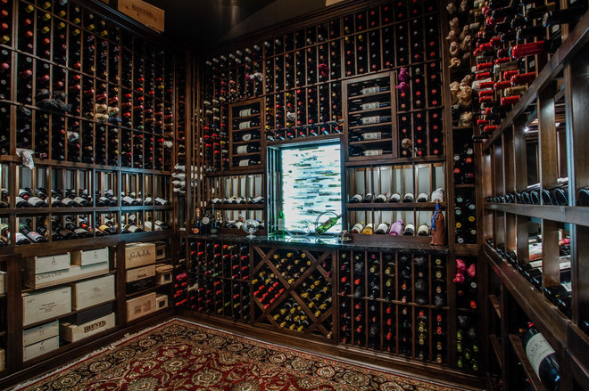 Transitional Wine Cellar by Sterling Brook Custom Homes