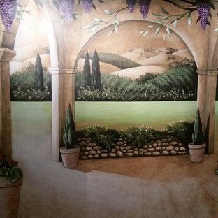 Cette image montre une grand cave à vin méditerranéenne avec un sol en linoléum.