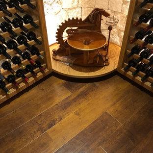 Cette image montre une grand cave à vin traditionnelle avec un sol en vinyl et un sol marron.