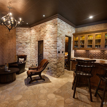 Man cave with wine cellar