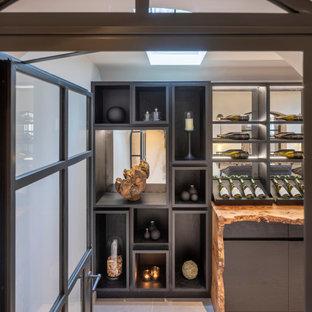 Imagen de bodega contemporánea, grande, con suelo de baldosas de cerámica, vitrinas expositoras y suelo gris