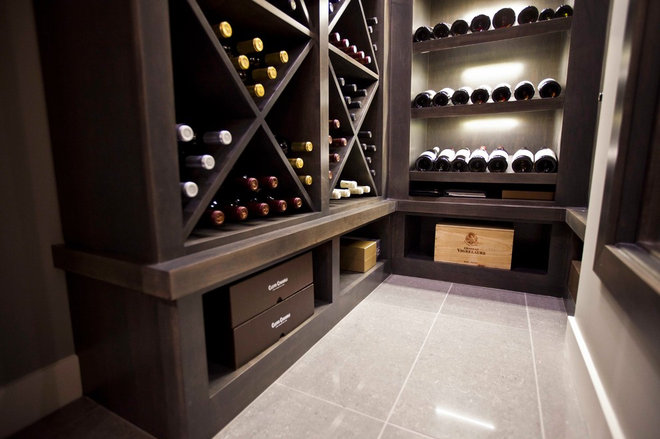 Transitional Wine Cellar by Urban Abode