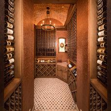 Mediterranean Wine Cellar by Thompson Custom Homes