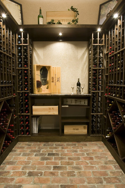 Mediterranean Wine Cellar by BeeTree Homes