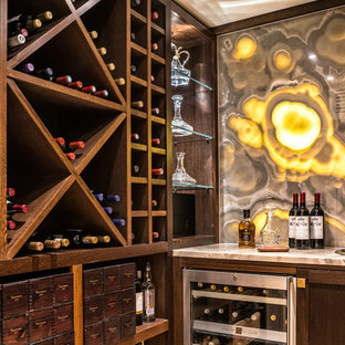 This is an example of a classic wine cellar in London with storage racks.