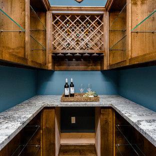 Inspiration pour une grande cave à vin design avec un sol en bois foncé, des casiers losange et un sol marron.