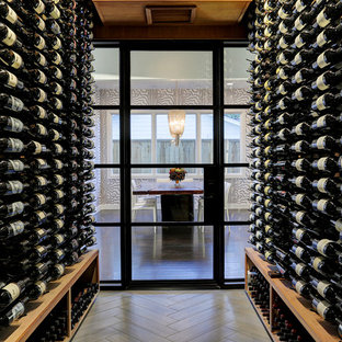 Inspiration for a mid-sized modern porcelain floor wine cellar remodel in Houston with storage racks