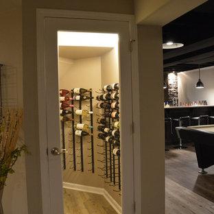 Exemple d'une petit cave à vin moderne avec un sol en vinyl, des casiers et un sol marron.