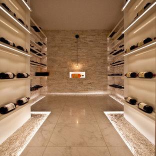 Cette photo montre une grand cave à vin tendance avec un sol en marbre et un présentoir.