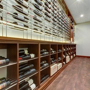 Diseño de bodega moderna, de tamaño medio, con suelo vinílico, vitrinas expositoras y suelo marrón