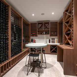 Contemporary wine cellar in Perth with storage racks.