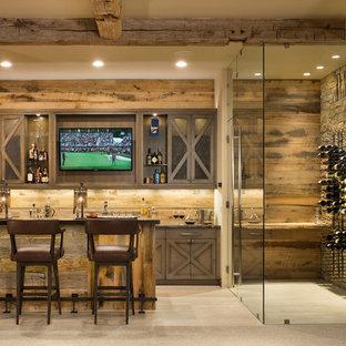 Inspiration for a rustic wine cellar in Salt Lake City with medium hardwood flooring, display racks and brown floors.