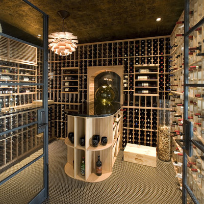 Inspiration for a contemporary multicolored floor wine cellar remodel in Los Angeles with storage racks