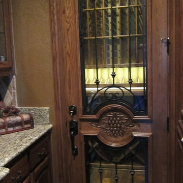 Oak and Wrought Iron Custom Wine Cellar Door TX