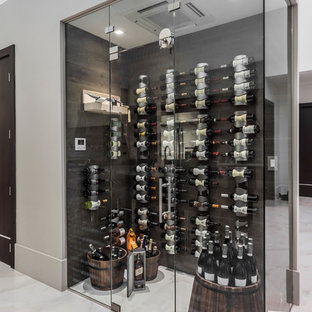 Design ideas for a contemporary wine cellar in Miami with storage racks, white floors and marble flooring.