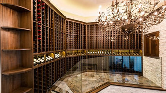 Ocala Wine Cellar with Petrified, Reclaimed Wood Floors