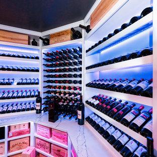 Idéer för en stor modern vinkällare, med klinkergolv i porslin, vindisplay och flerfärgat golv
