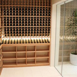 Inspiration för en mellanstor funkis vinkällare, med travertin golv och vinhyllor