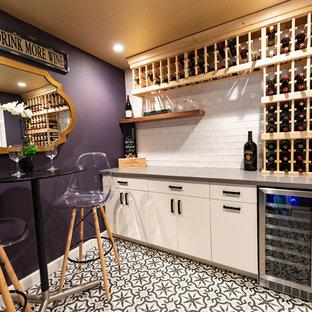 Foto di una cantina minimalista con pavimento con piastrelle in ceramica e pavimento multicolore