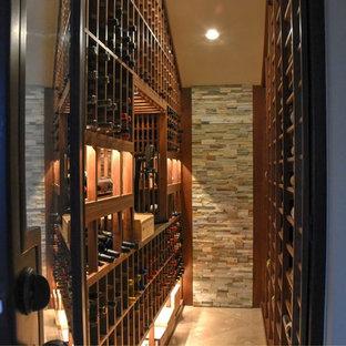 Exemple d'une cave à vin chic de taille moyenne avec un sol en carreau de terre cuite et un présentoir.